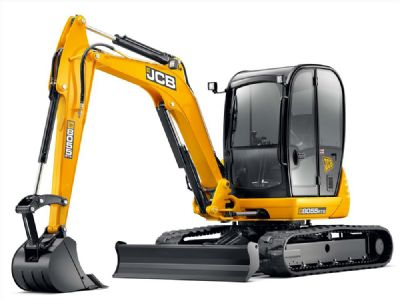 Compact excavator at work